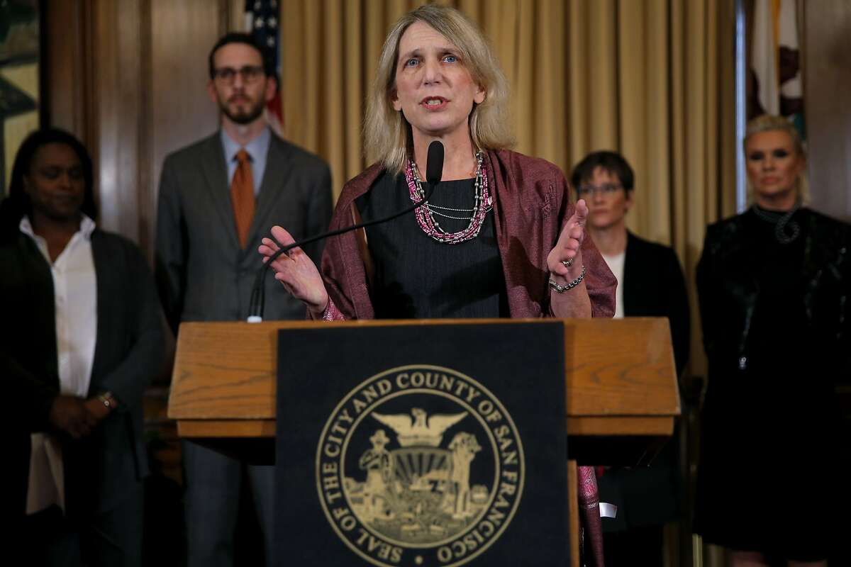"""Dr. Diane Havlir speaks during a press conference to announce additional funds toward the """"get to zero"""" HIV/AIDS initiative at City Hall in San Francisco, California, on Thursday, Oct. 29, 2015."""