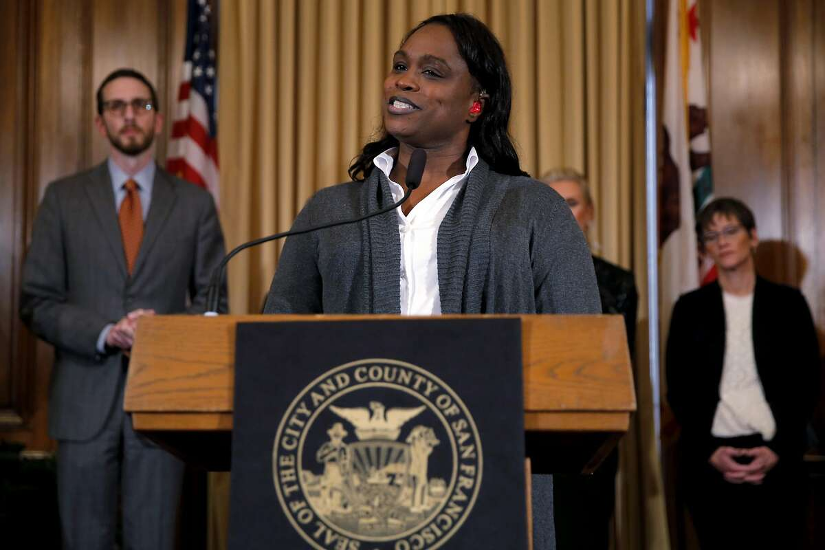 """Johanna, an African American transgender woman, speaks during a press conference to announce additional funds toward the """"get to zero"""" HIV/AIDS initiative at City Hall in San Francisco, California, on Thursday, Oct. 29, 2015."""