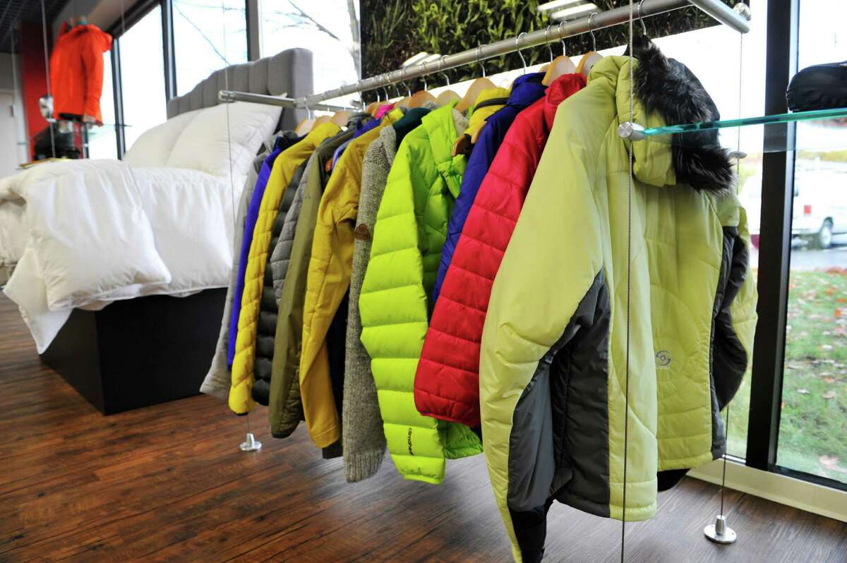 A view of some of the products that use PrimaLoft insulation are on display in the showroom at the company's headquarters on Thursday, Oct. 29, 2015, in Latham, N.Y. (Paul Buckowski / Times Union)