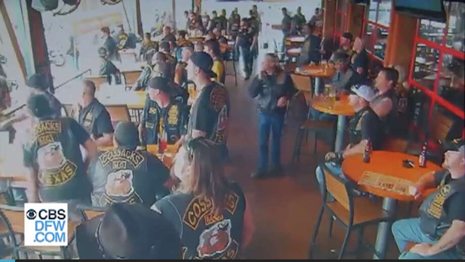 Surveillance video recorded by Twin Peaks and released by multiple media organizations shows the chaos at the restaurant when the violence was at its worst. Photo: CBS-DFW