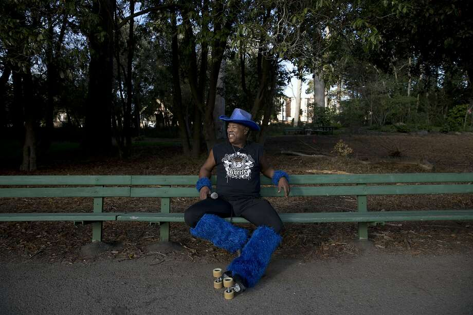 "David Miles, Jr., also known as ""The Godfather of Skate,"" sits on a park bench near the ""Skatin' Place"" in Golden Gate Park in San Francisco in October 2015. Photo: Tim Hussin, The Chronicle"