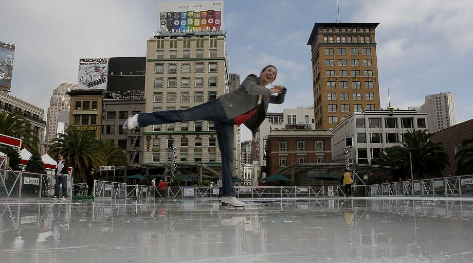 The holiday ice skating rink in the center of Union Square opens Sunday, Nov. 8. Photo: Michael Macor, The Chronicle