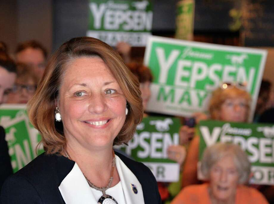 Saratoga Springs Mayor Joanne Yepsen announces her re-election campaign at a news conference Thursday May 28, 2015 in Saratoga Springs, NY.  (John Carl D'Annibale / Times Union) Photo: John Carl D'Annibale / 00032042A