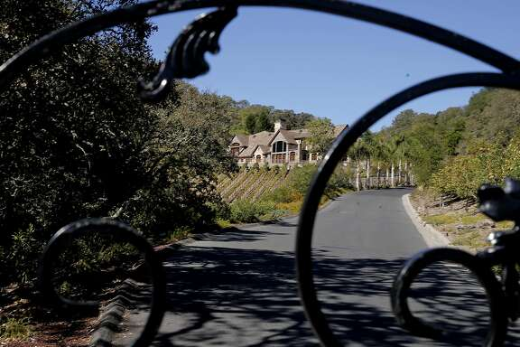 Several of the homeowners reported as water wasters by the East Bay Municipal Utility District are behind an iron gate at the top of a hill, in Alamo, Calif. as seen on Thurs. October 29, 2015.