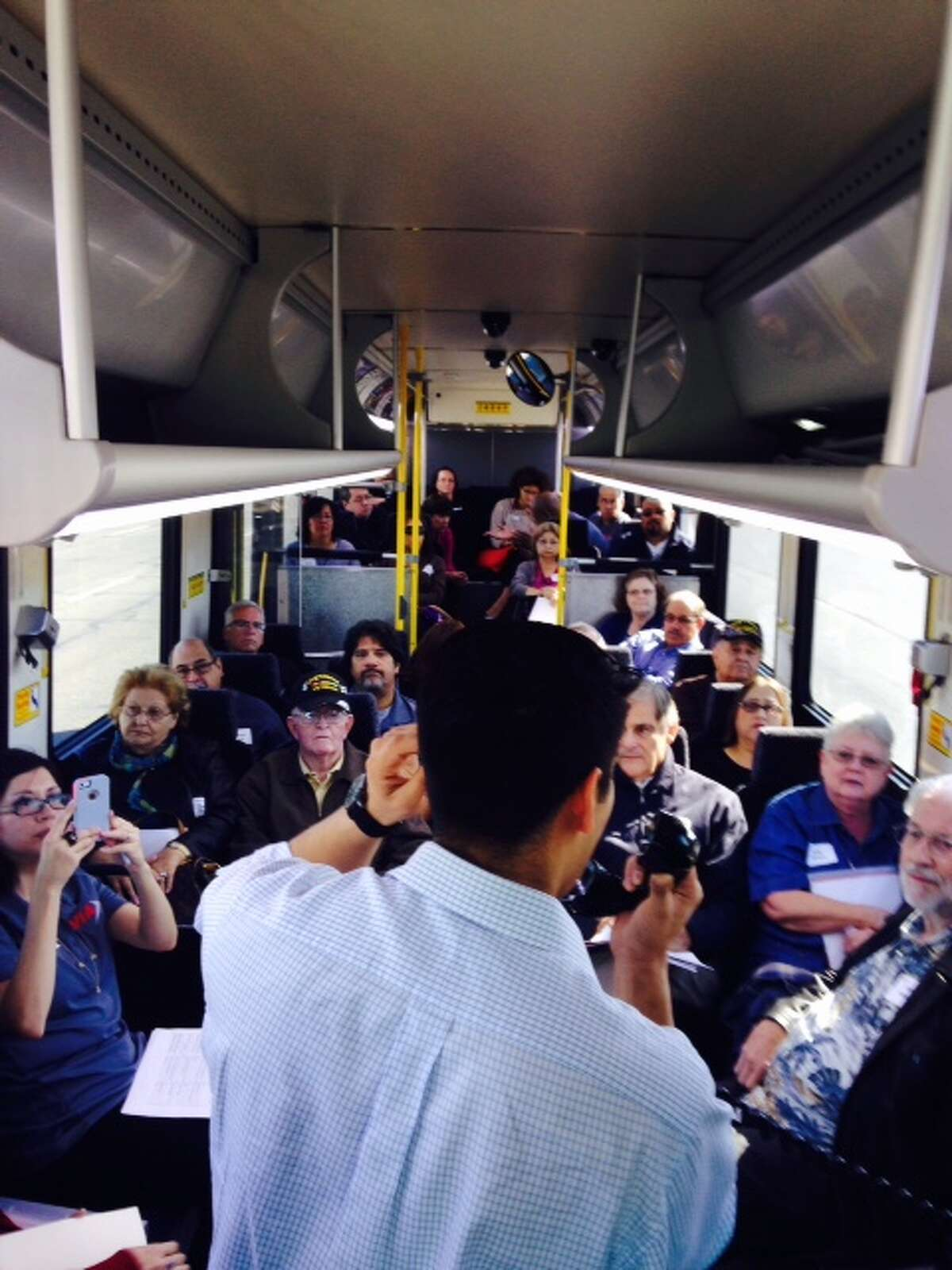 District 4 Councilman Rey Saldaña hosts a town hall meeting on a VIA bus Saturday, November 8. The councilman hopes to have similar meetings with the rest of the council on board in the future.