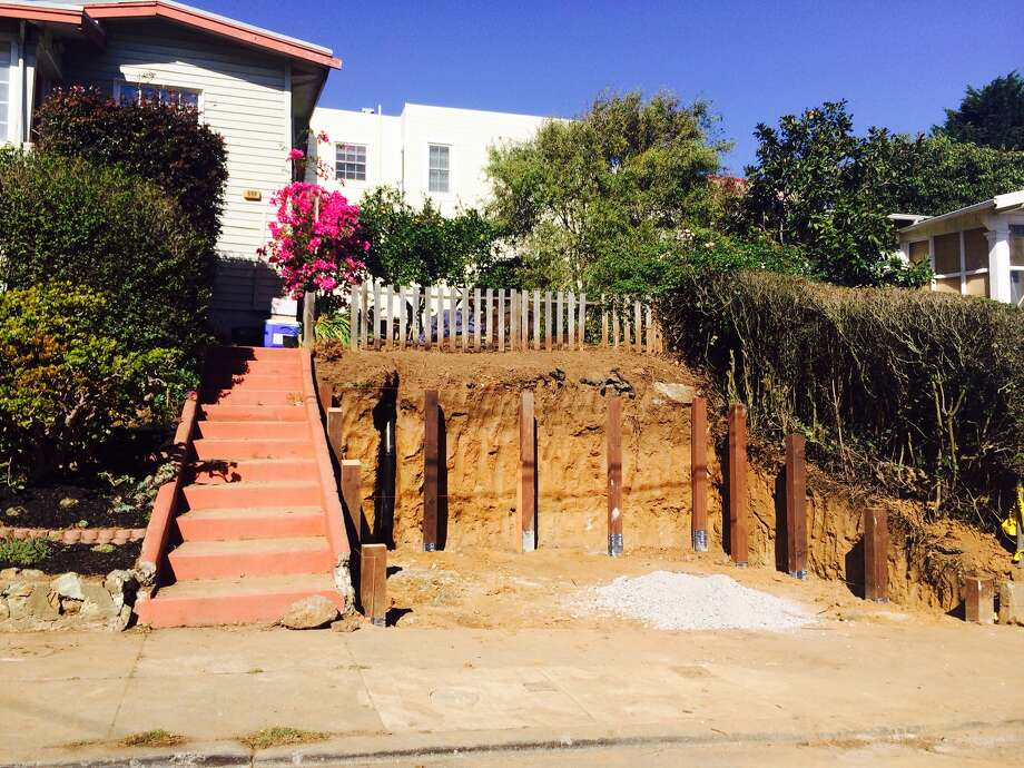 A Sunnyside homeowner lacking parking apparently decided to dig himself a space without getting the required permits. Now he wants to excavate the hillside even more in order to install an underground two-car garage. Photo: Amy Graff, SFGate