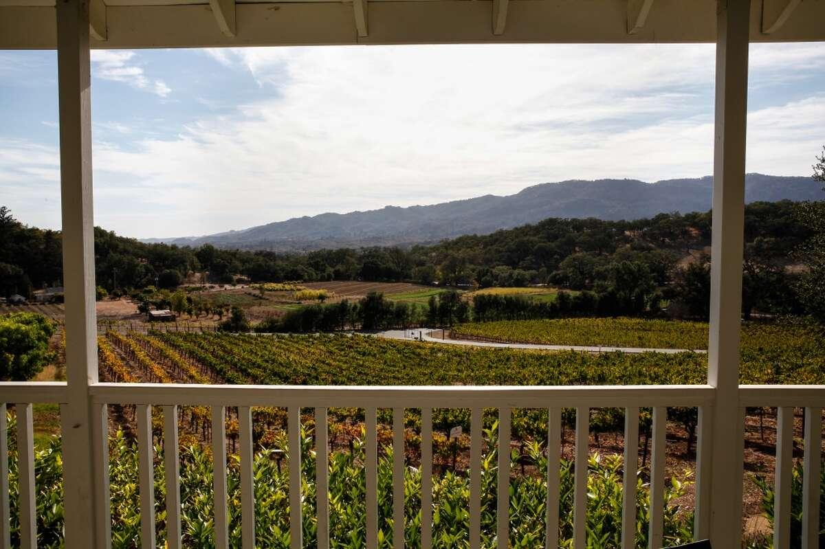 The view from the veranda at Arrowood Winery in Glen Ellen.