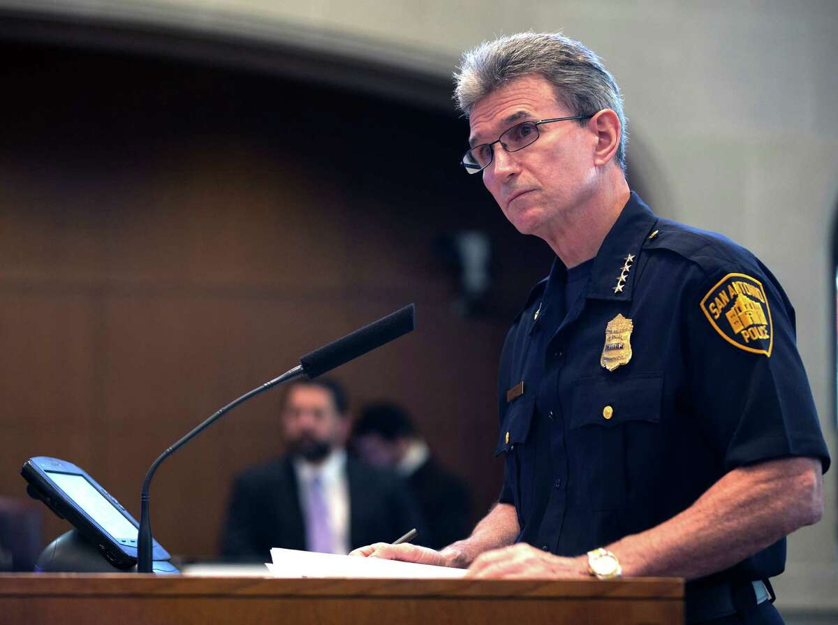 San Antonio police chief William McManus speaks to the city council in October. McManus shortened the suspensions of three officers who were disciplined last year for their handling of a drug suspect who turned out to be the wrong man, and who was subsequently left paralyzed by surgery to treat the effects of what he said was a severe beating at the hands of the officers. The FBI is now investigating the incident.