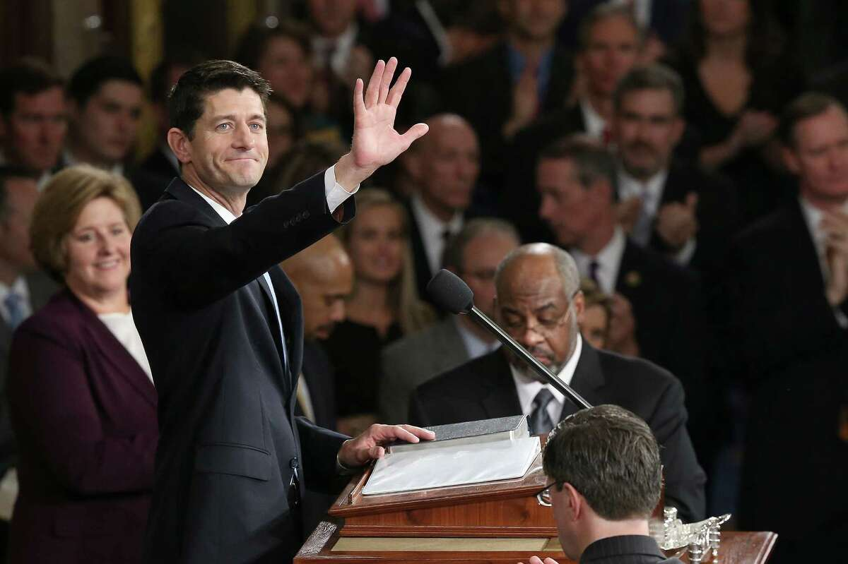 WASHINGTON, DC - OCTOBER 29: Newly sworn-in Speaker of the House Paul Ryan (R-WI) waves to colleagues after his election to the leadership position October 29, 2015 in Washington, DC. The House elected Ryan (R-WI) as the 62nd Speaker of the House, replacing Rep. John Boehner (R-OH). (Photo by Win McNamee/Getty Images) *** BESTPIX ***