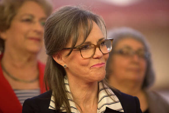 Sally Field waits to speak during a press conference regarding the Houston Equal Rights Ordinance and the Human Rights Campaign Thursday at the Alley Theater. HERO received big-name support this week from President Obama and Democratic candidate Hillary Clinton.