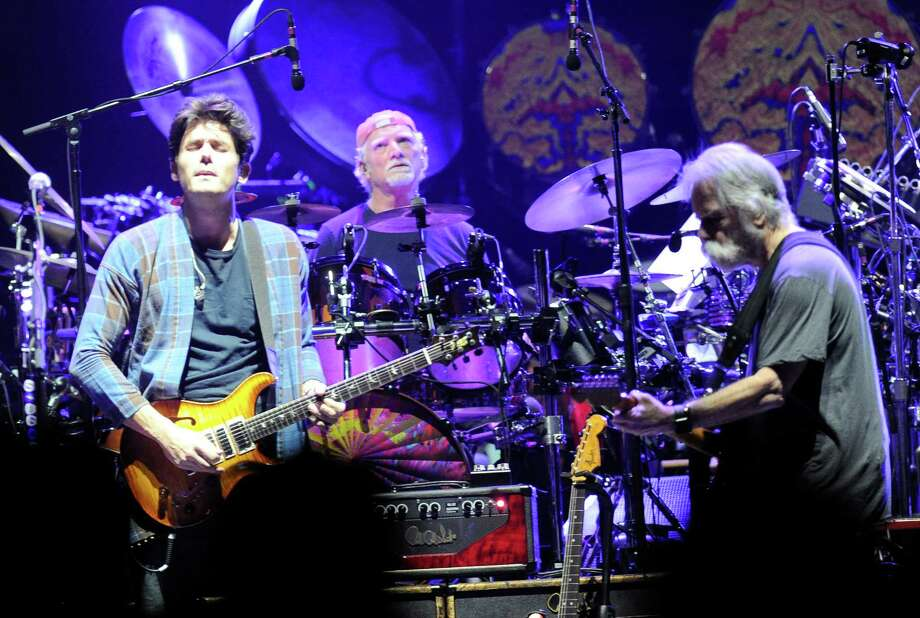 John Mayer ,left, plays with Grateful Dead members Mickey Hart, Bill Kreutzmann, Bob Weir, and musicians Oteil Burbridge, and Jeff Chimenti to form the band Dead & Company during a show at Times Union Center in Albany, N.Y.,Thursday, Sept. 29, 2015. (Hans Pennink / Special to the Times Union) ORG XMIT: HP106 Photo: Hans Pennink / 00034014A