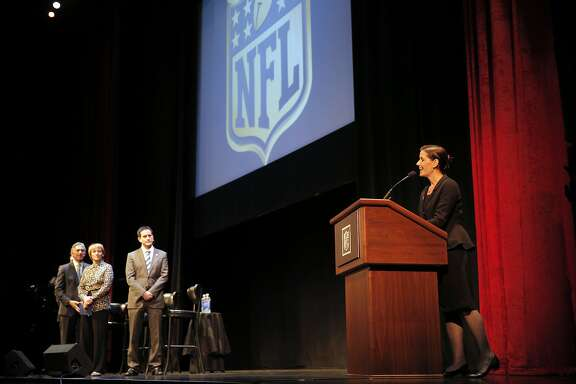Oakland Mayor Libby Schaaf gives opening remarks as members of NFL Commissioner Richard Goodell's staff held a public hearing on the idea of the Raiders football team moving to southern California at the Paramount Theater in Oakland, Calif., on Thursday, October 29, 2015.