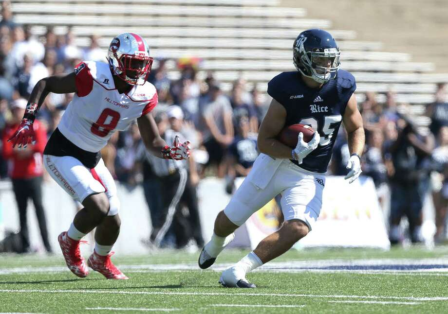 Rice running back Luke Turner says the Owls are looking to make amends against Louisiana Tech today after last season's 76-31 rout by the Bulldogs. Photo: Elizabeth Conley, Staff / © 2015 Houston Chronicle