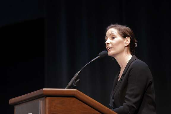 Oakland Mayor Libby Schaaf gives opening remarks as members of NFL Commissioner Roger GoodellÕs staff held a public hearing on the idea of the Raiders football team moving to southern California at the Paramount Theater in Oakland, Calif., on Thursday, October 29, 2015.