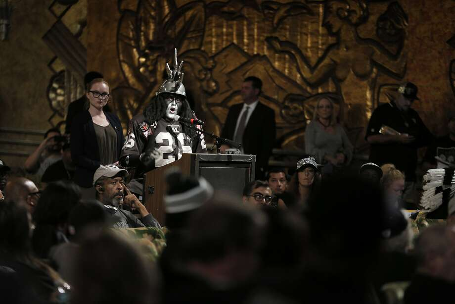 Ray Perez, a.k.a. Dr. Death, speaks at the public hearing held on the Raiders moving to Southern California at the Paramount Theatre in Oakland. Photo: Carlos Avila Gonzalez, The Chronicle