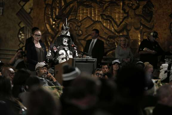 Ray Perez, AKA Dr. Death, speaks to the members of NFL Commissioner Roger GoodellÕs staff held a public hearing on the idea of the Raiders football team moving to southern California at the Paramount Theater in Oakland, Calif., on Thursday, October 29, 2015.