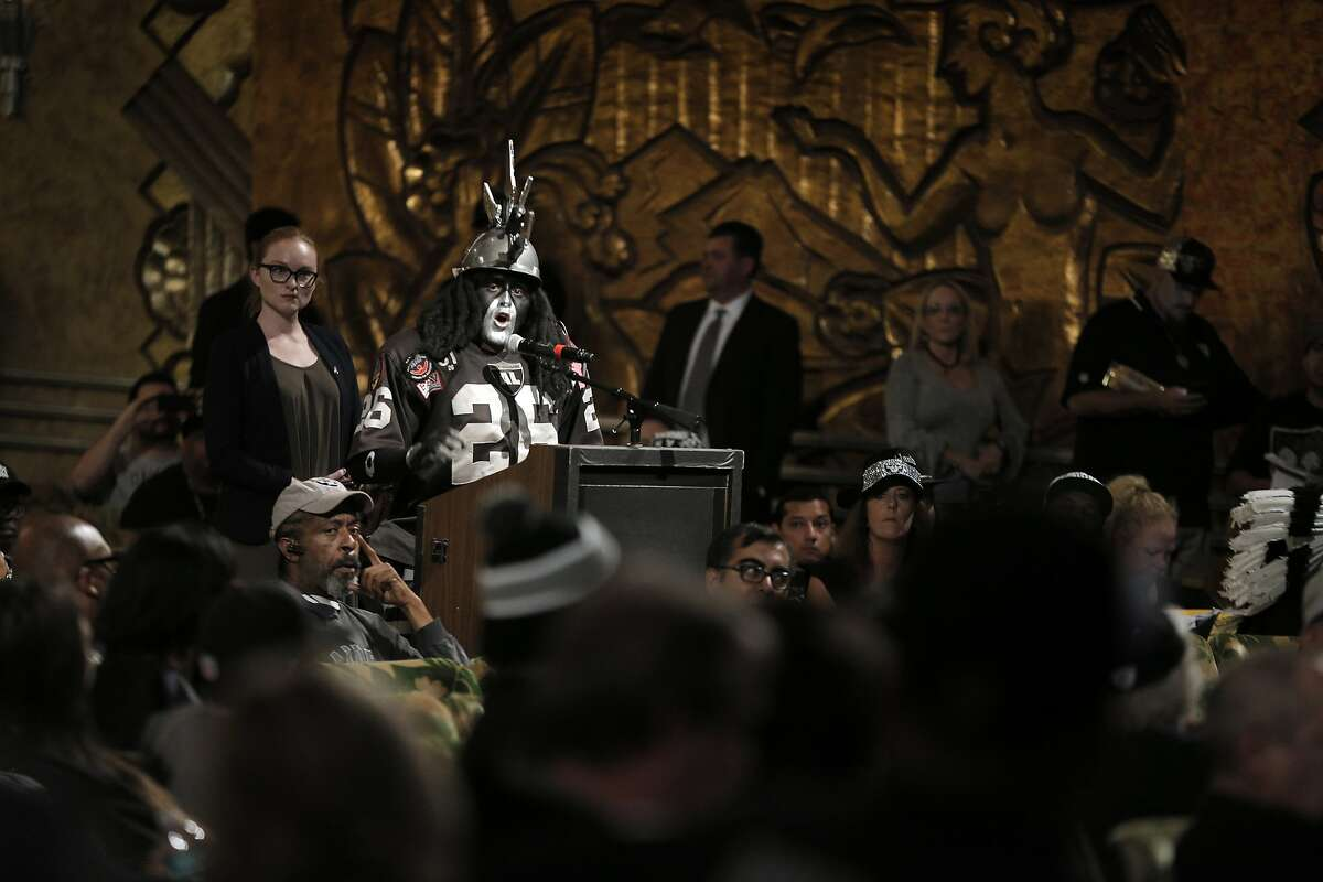 Ray Perez, a.k.a. Dr. Death, speaks to the members of NFL Commissioner Roger Goodell's staff held a public hearing on the idea of the Raiders football team moving to southern California at the Paramount Theater in Oakland, Calif., on Thursday, October 29, 2015.