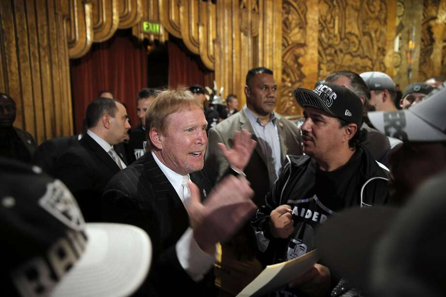 Raiders Owner Mark Davis responds to questions from the fans after members of NFL Commissioner Roger Goodell's staff held a public hearing on the idea of the Raiders football team moving to southern California at the Paramount Theater in Oakland, Calif., on Thursday, October 29, 2015. Photo: Carlos Avila Gonzalez, The Chronicle