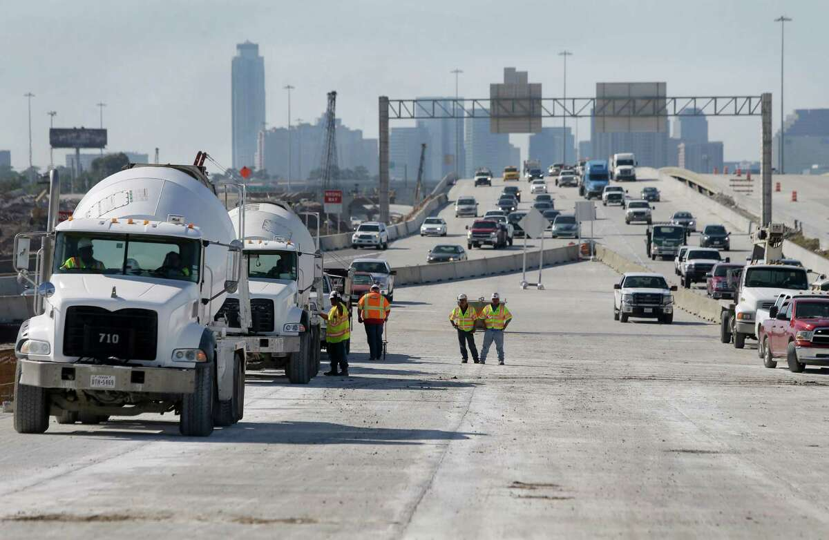 Construction work is shown where the Loop 610 northbound traffic will connect to the new eastbound bridge Wednesday, Oct. 28, 2015, in Houston.