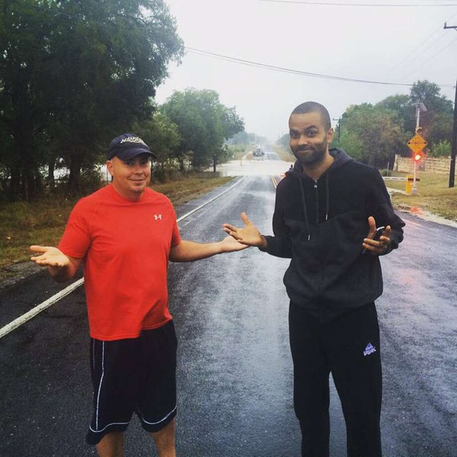 If you were barricaded by flood waters caused by the downpour throughout Central Texas Friday morning, you weren't the only one – so was Tony Parker.