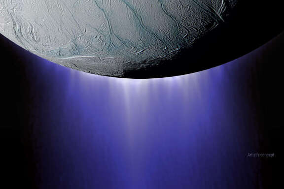 NASA's Cassini spacecraft flew just 30 miles over the surface of the Saturn's moon Enceladus on Oct. 28, 2015, passing directly through an ice volcano jetting out from the liquid ocean.