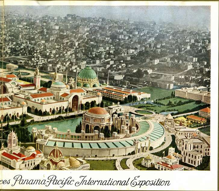 Aeroplane view of main group of exhibit palaces, Panama-Pacific International Exposition [right panel from Views of the Panama -Pacific International Exhibition in Natural Colors]. c. 1914 Gabriel Moulin; Courtesy California Historical Scoiety CHS2014.1866[b].