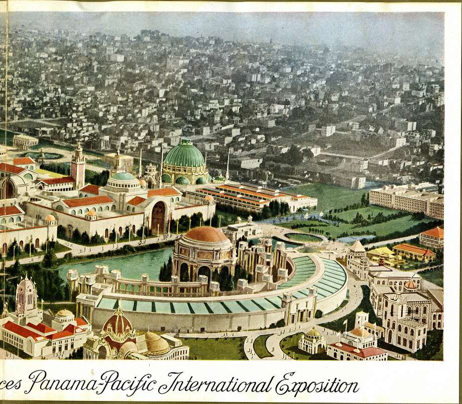 Aerial view of main group of exhibit palaces, Panama-Pacific International Exposition taken from the right panel of Views of the Panama -Pacific International Exhibition in Natural Colors. Courtesy California Historical Society. Photo: C. 1914 Gabriel Moulin, Courtesy California Historical S