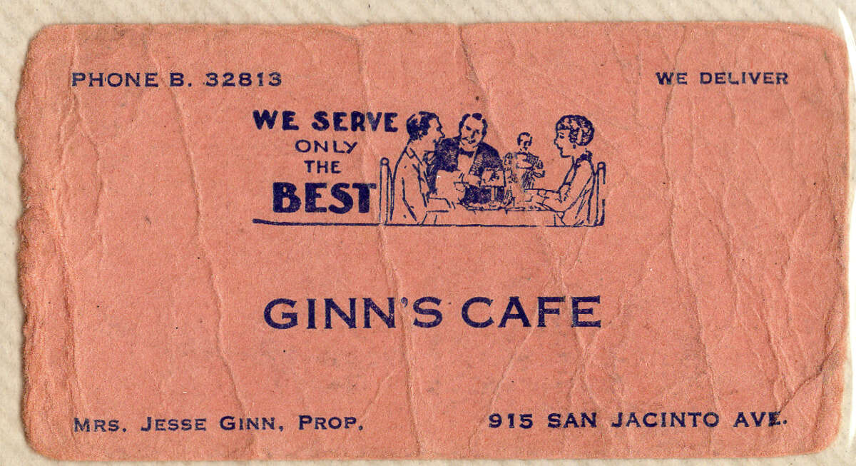 Top, Leona Ginn at the Green Hut Cafe just north of downtown, circa 1934. Above, Ginn's Cafe business card, circa 1937, when Leona Ginn opened at 915 San Jacinto.