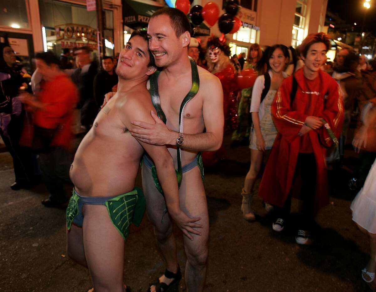"""Left to Right: Juan Ochoa and Sean McCambridge as """"Adam and Steve"""". during Halloween in the Castro District in 2005."""