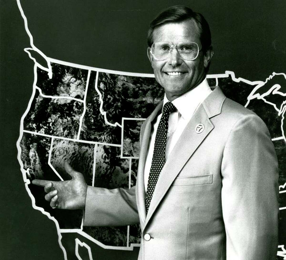 """PETE GIDDINGS: The makers of """"Anchorman"""" stole half of that movie from this photo. Meteorologist Giddings worked at KGO in four decades -- I'm guessing this handout photo was from the early 1980s. That """"7"""" lapel pin is boss. I hope he still has it."""