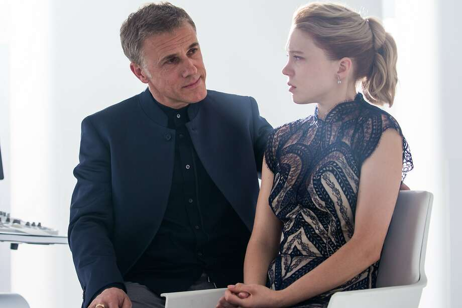 """Christopher Waltz, pictured with Lea Seydoux in """"Spectre,"""" is the latest in a long line of Bond villains. Christoph Waltz (left) and Leå Seydoux in Metro-Goldwyn-Mayer Pictures/Columbia Pictures/EON Productions' action adventure SPECTRE. Photo: Courtesy, Metro-Goldwyn-Mayer"""