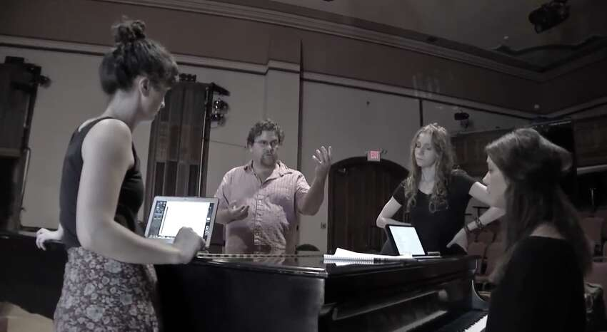 From left: Maizy Broderick Scarpa, David Snider, Abigail Wahl and Clara Strauch rehearse their new musical,