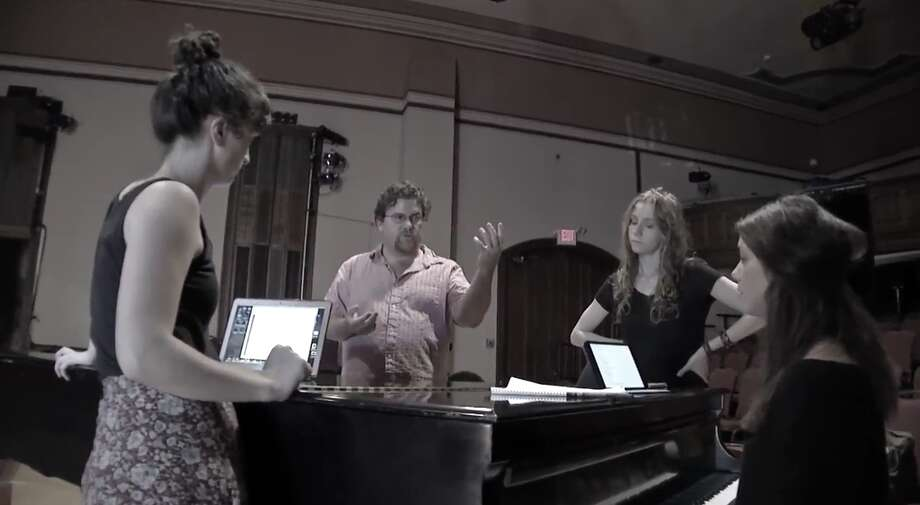 "From left: Maizy Broderick Scarpa, David Snider, Abigail Wahl and Clara Strauch  rehearse their new musical, ""Wayward Home."" credit: David Faltskog"