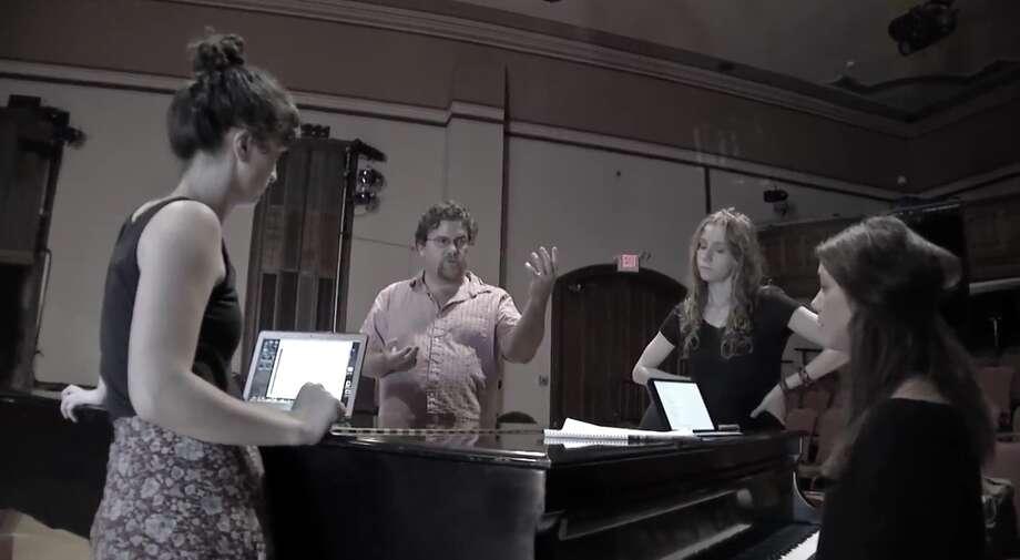 "From left: Maizy Broderick Scarpa, David Snider, Abigail Wahl and Clara Strauch  rehearse their new musical, ""Wayward Home."" credit: David Faltskog"