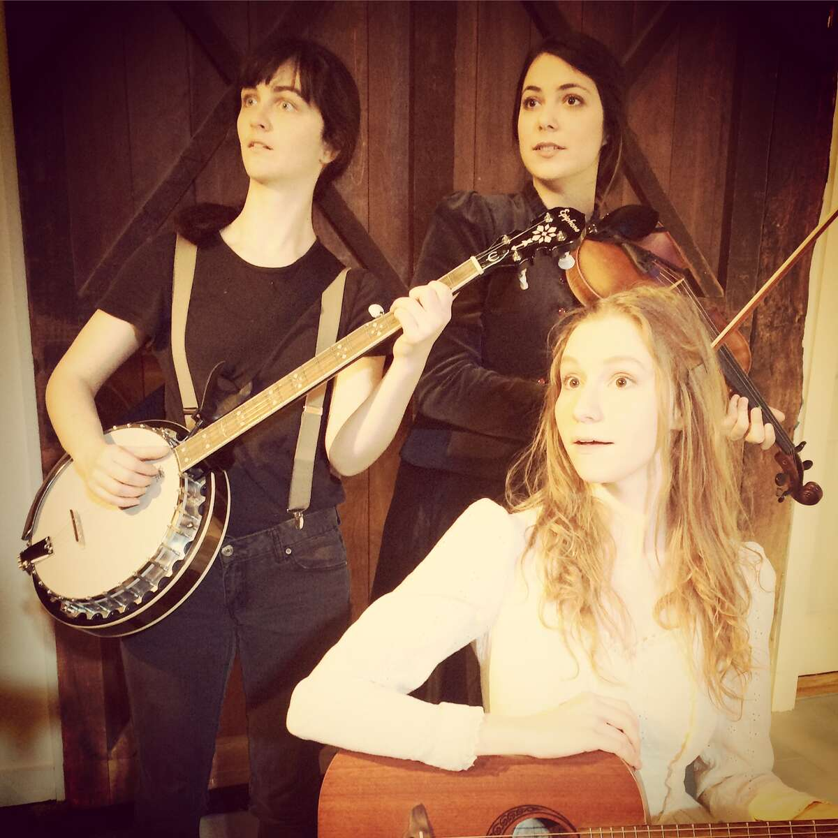 Maizy Broderick Scarpa, Clara Strauch Abigail Wahl rehearse their new musical,