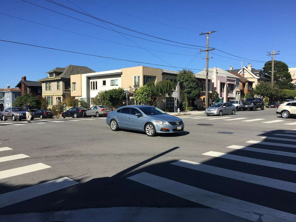 A car navigates the intersection of Parker and Euclid avenues in San Francisco's Laurel Heights neighborhood on Friday, Oct, 30, 2015. On Thursday, a 2-year-old girl was critically injured when a car hit the stroller she was in.