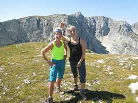 Adele Grunberg and Juliet Nellis at the top of Savin Kuk (7,586 feet), one of the most beautiful and most photographed peaks of Durmitor National Park, Montenegro.