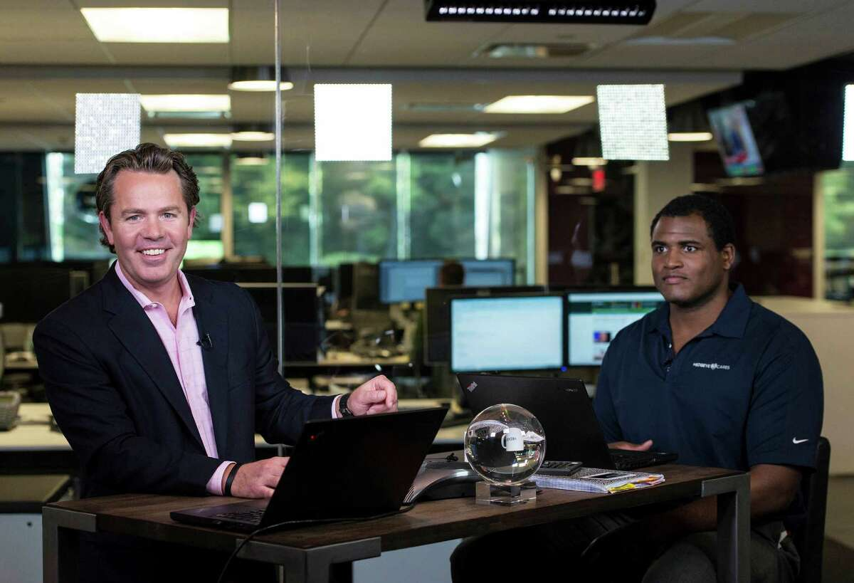 Hedgeye Risk CEO Keith McCullough and director Darius Dale, just after finishing a broadcast of Hedgeye TV on October 8, 2015, in Stamford, Conn.