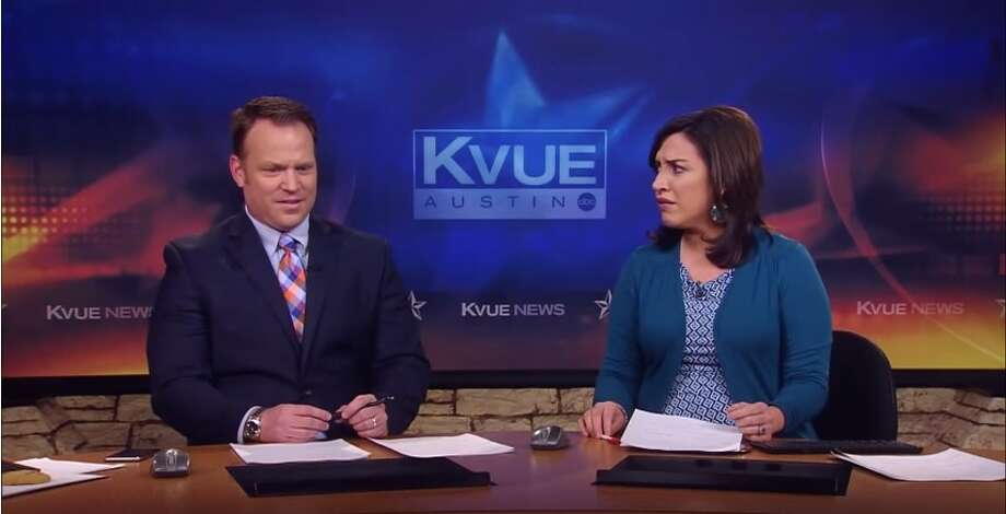 KVUE anchors were shocked to find out the man they were interviewing was actually stuck in a tree.