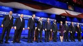 Line-up of candidates before GOP debate