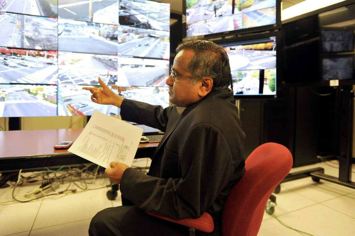 Traffic Engineer Mani Poola is retiring after 27 years of service in Stamford, photographed on Thursday, Oct. 29, 2015.