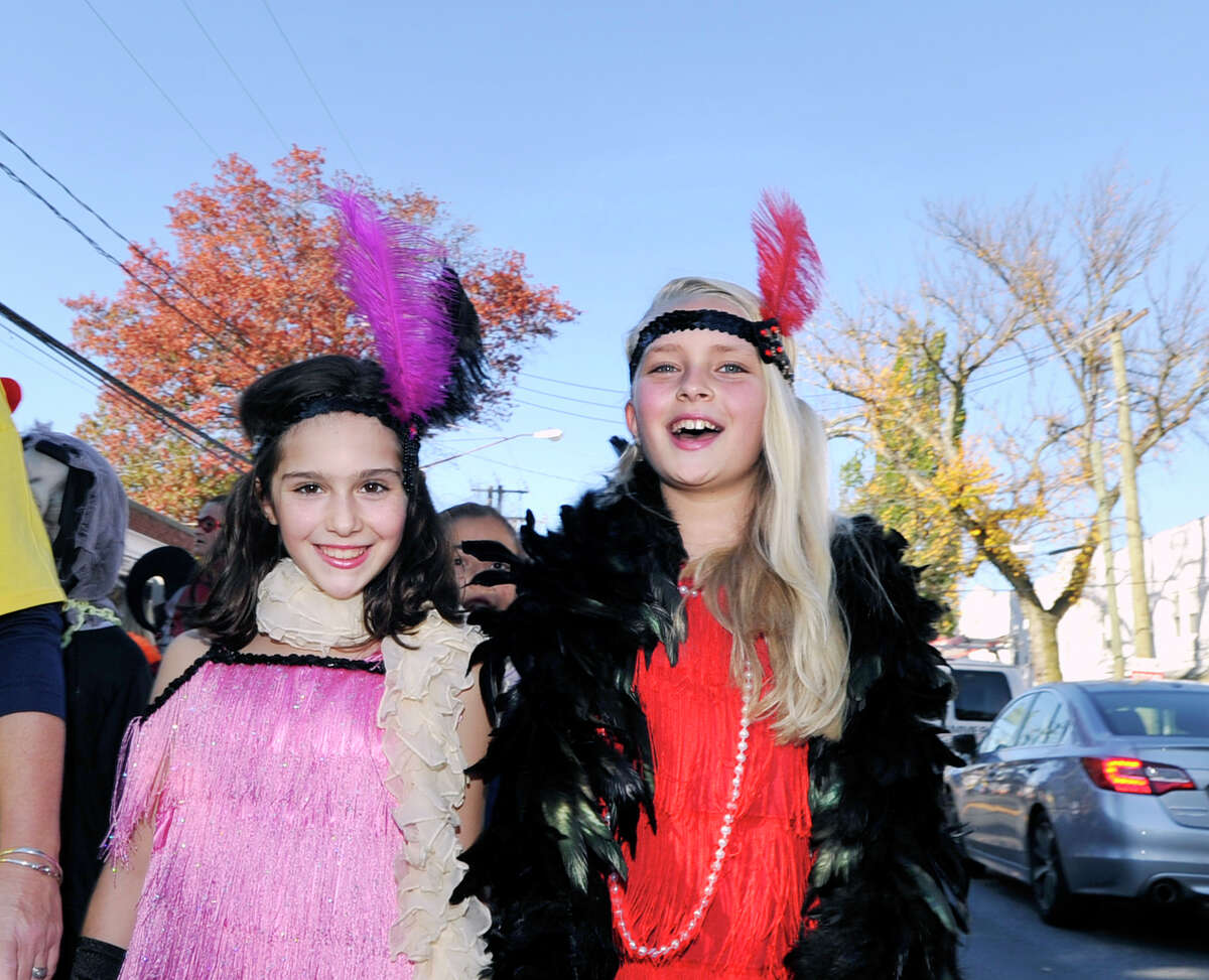 Students in costume during the Old Greenwich School annual Halloween parade at the school and on Sound Beach Avenue in Old Greenwich, Conn., Friday afternoon, Oct. 30, 2015.