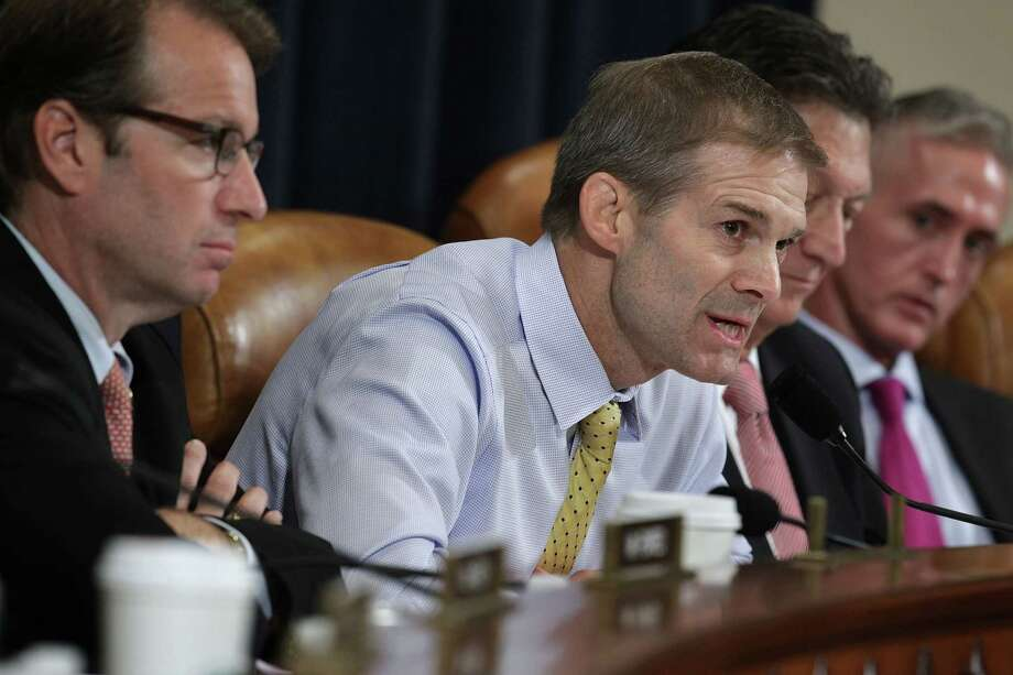 U.S. Rep. Jim Jordan, R-Ohio (center) and other committee members had damning evidence against Hillary Clinton during the  House Select Committee on Benghazi. But they blew it. Photo: Alex Wong / Getty Images / 2015 Getty Images