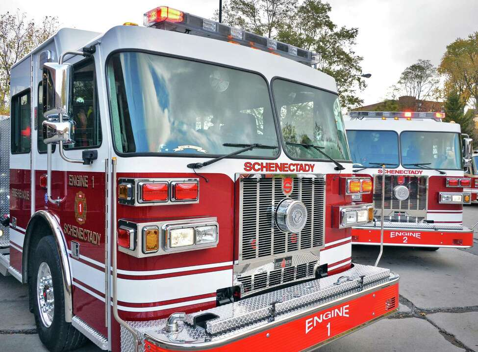 Two Sutphen Custom fire pumpers were added to the fleet at Schenectady Fire Station One in 2015 in Schenectady, NY. (John Carl D'Annibale / Times Union)