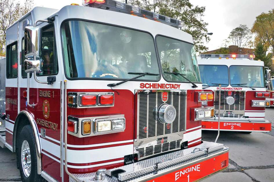 Two new Sutphen Custom fire pumpers added to the fleet at Schenectady Fire Station One  Friday Oct. 30, 2015 in Schenectady, NY.  (John Carl D'Annibale / Times Union)