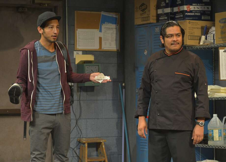Whalid (Caleb Cabrera, left) and Pepe (Carlos Jose Gonzalez Morales) worry about getting paid for their shift. Photo: Kevin Berne