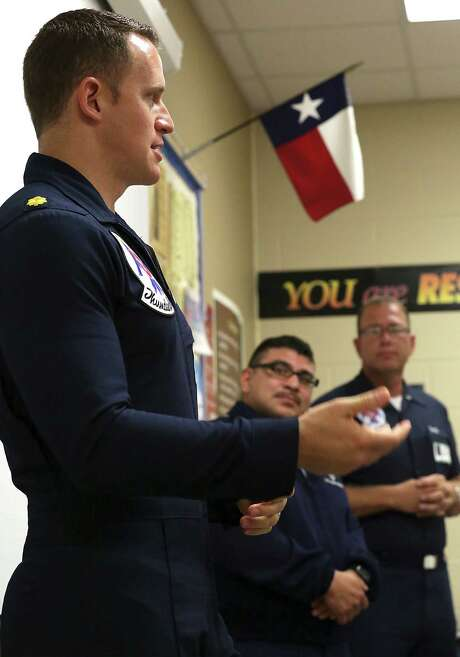 "Maj. Christopher Scheibler, the flight surgeon for the Thunder- birds and a 2000 Judson graduate, told the JROTC students that the work they do now, things that motivate them, ""will shape what you do in the future. I didn't know that when I was here at Judson; I had a lot of great teachers that pushed me in my classes."" Photo: Bob Owen /San Antonio Express-News / ©2015 San Antonio Express-News"