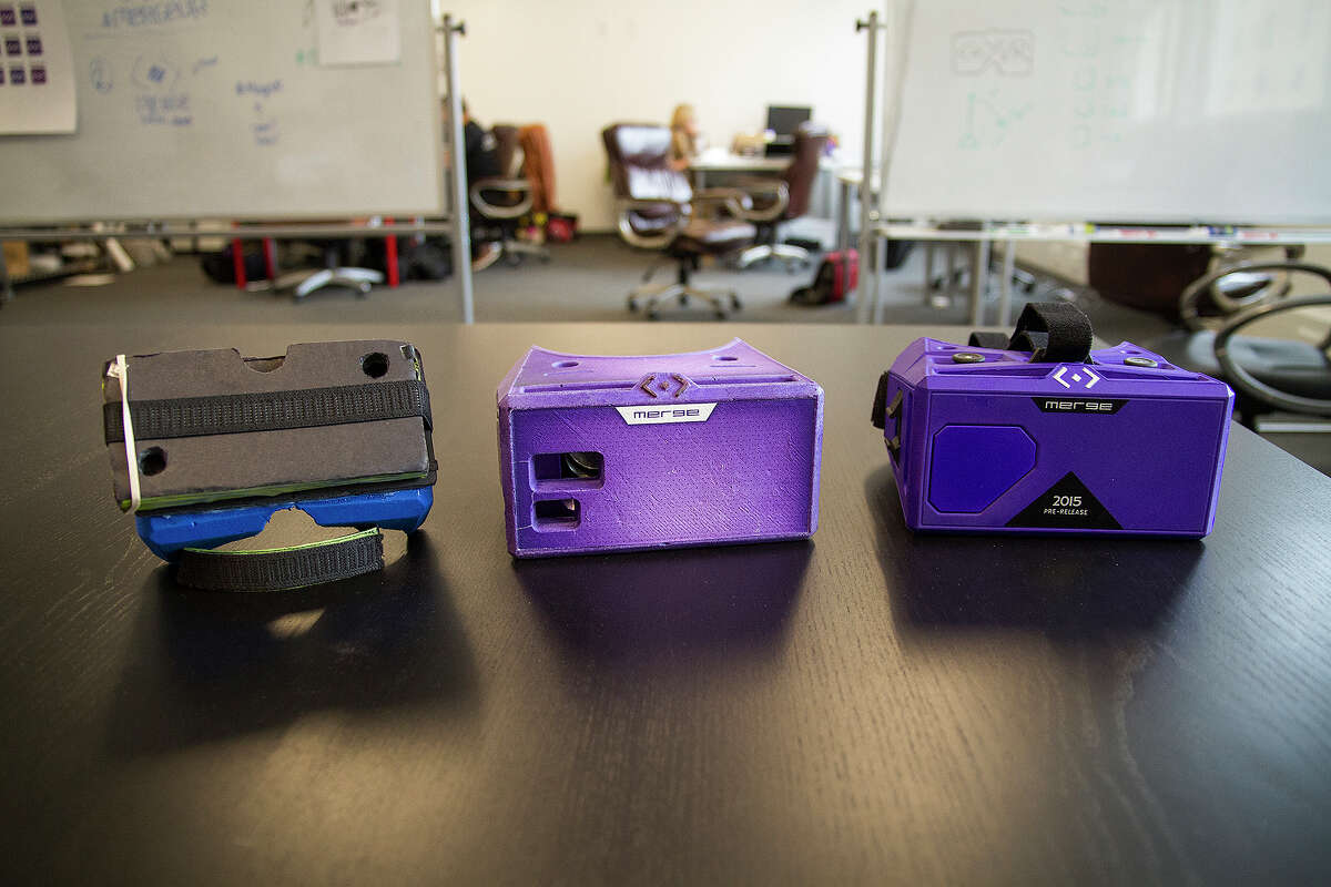 The Merge VR prototype evolution starting with the first prototype on the far left.