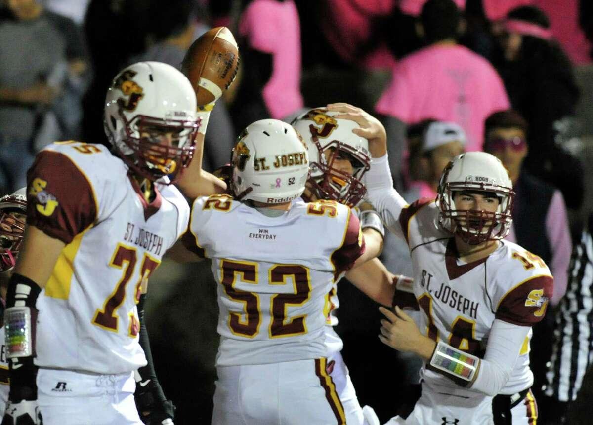 High school football game between Stamford High School and St. Joseph High School at Stamford, Conn., Friday night, Oct. 30, 2015.