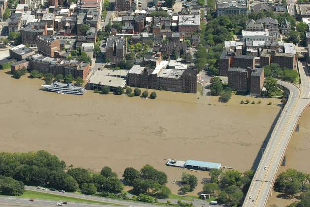 Aerial view of the Hudson River in Troy N.Y. Monday Aug. 29, 2011. Heavy rains from Tropical Storm Irene swelled area rivers and creeks beyond capacity.  (Will Waldron / Times Union) Photo: Will Waldron